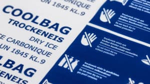 Trockeneis Coolbags 28 kg mit Sicherheitshinweisen